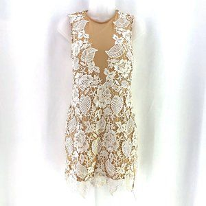 Forever 21 White Lace Nude Lined Mini Dress